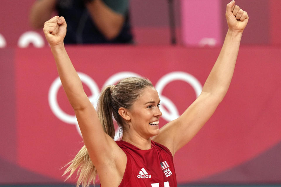 United States' Andrea Drews celebrates winning the women's volleyball preliminary round pool B match between United States and Italy at the 2020 Summer Olympics, Monday, Aug. 2, 2021, in Tokyo, Japan. (AP Photo/Frank Augstein)