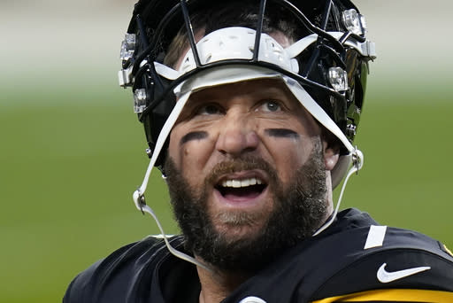 Pittsburgh Steelers quarterback Ben Roethlisberger looks at the scoreboard from the sideline during the first half of an NFL football game against the Cincinnati Bengals, Sunday, Nov. 15, 2020, in Pittsburgh. (AP Photo/Keith Srakocic)