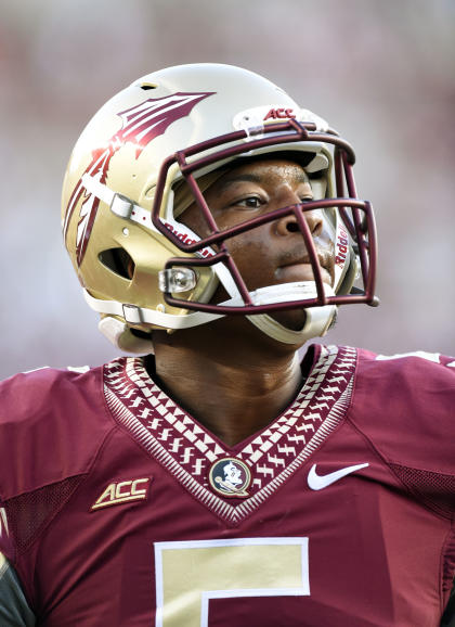 Jameis Winston (5) warms up before Florida State's win over Clemson. (USAT)