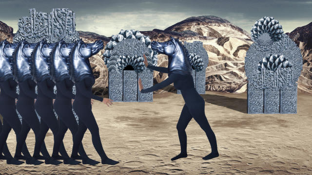"""<p>Still from Zeina Barakeh's """"Homeland Insecurity & Slam Bang Blue Remix,"""" part of SFAI's """"Tunnels of the Mind."""" 