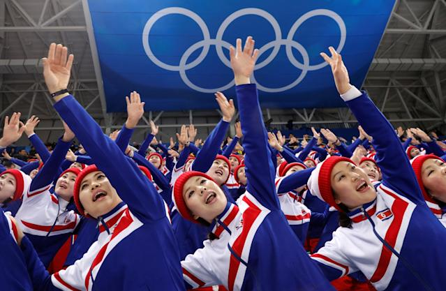 FILE PHOTO: Ice Hockey Pyeongchang 2018 Winter Olympics – Men Preliminary Round Match – Czech Republic v South Korea - Gangneung Hockey Centre, Gangneung, South Korea February 15, 2018 - North Korean cheerleaders attend the Czech Republic Vs. South Korea game. REUTERS/Kim Kyung-Hoon/File Photo