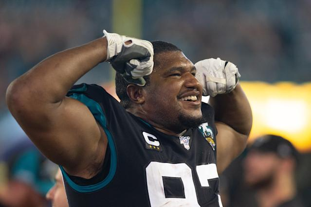 "<a class=""link rapid-noclick-resp"" href=""/nfl/players/8827/"" data-ylk=""slk:Calais Campbell"">Calais Campbell</a> is headed to the <a class=""link rapid-noclick-resp"" href=""/nfl/teams/baltimore/"" data-ylk=""slk:Baltimore Ravens"">Baltimore Ravens</a>. (Photo by David Rosenblum/Icon Sportswire via Getty Images)"