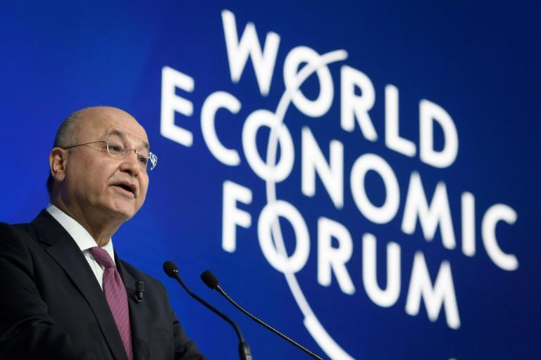 "Iraqi President Barham Saleh told world leaders at the Davos summit that ""no country should seek to dictate to Iraq"" the nature of its relationships"
