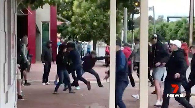The two groups brawl before Adelaide's home game against Sydney. Source: 7 News