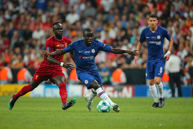 ISTANBUL, TURKEY - AUGUST 14: Sadio Mane of Liverpool and Ngolo Kante of Chelsea during the UEFA Super Cup Final fixture between Liverpool and Chelsea at Vodafone Park on August 14, 2019 in Istanbul, Turkey. (Photo by Matthew Ashton - AMA/Getty Images)