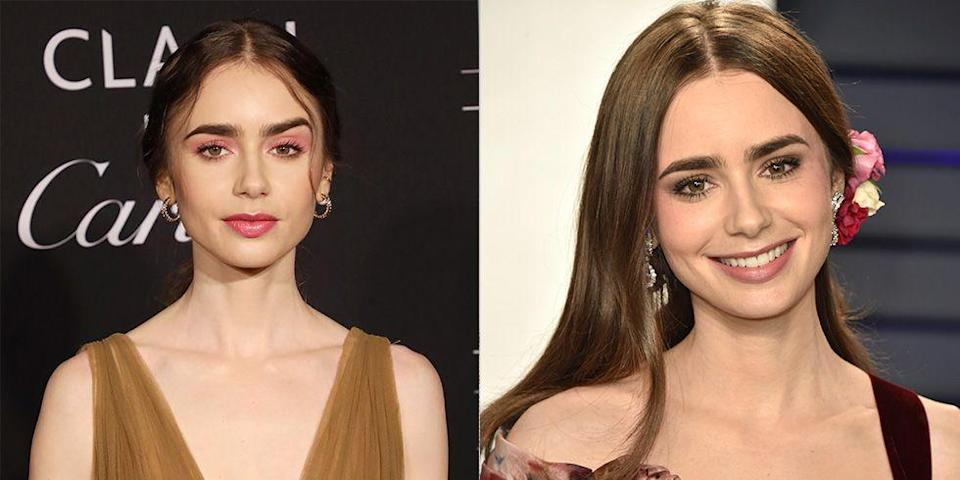<p>Lily Collins's closed mouth look is reminiscent of the glamorous stares of old Hollywood actresses, like Ava Gardner.</p>