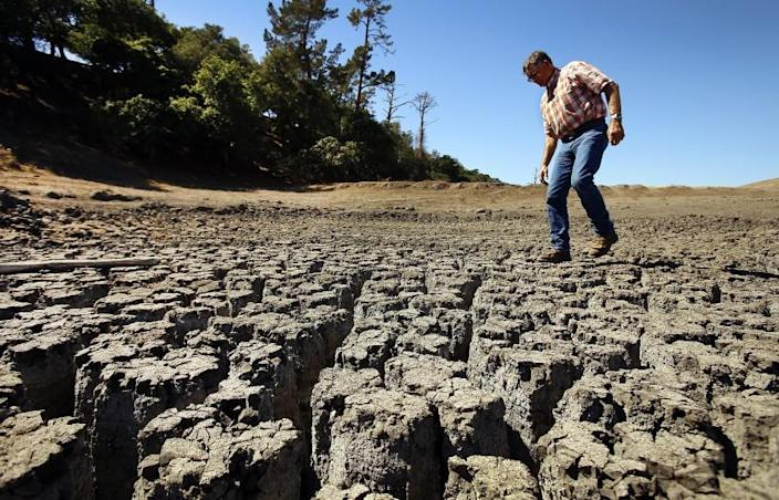 A San Luis Obispo County rancher walks over a parched cattle pond in October 2014.