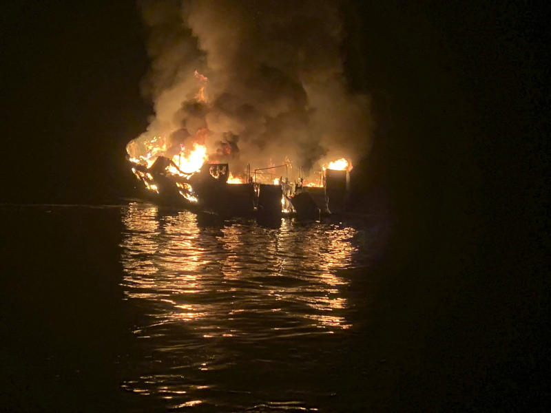 In this photo provided by the Santa Barbara County Fire Department, a dive boat is engulfed in flames after a deadly fire broke out aboard the commercial scuba diving vessel off the Southern California Coast, Monday morning, Sept. 2, 2019. (Photo: Santa Barbara County Fire Department via AP)