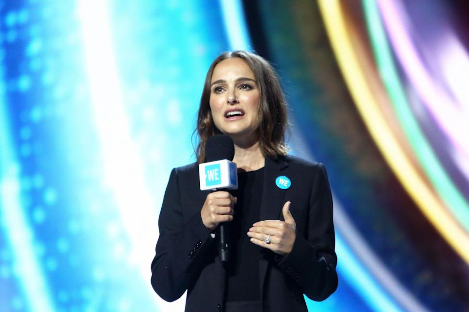 Natalie Portman speaks onstage at WE Day California on April 25, 2019, at the Forum in L.A. (Photo: Jesse Grant/Getty Images for WE Day)