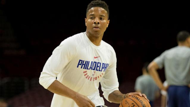 "<a class=""link rapid-noclick-resp"" href=""/nba/teams/phi/"" data-ylk=""slk:Philadelphia 76ers"">Philadelphia 76ers</a> rookie <a class=""link rapid-noclick-resp"" href=""/ncaab/players/136166/"" data-ylk=""slk:Markelle Fultz"">Markelle Fultz</a> probably won't be back on the court until mid-December."