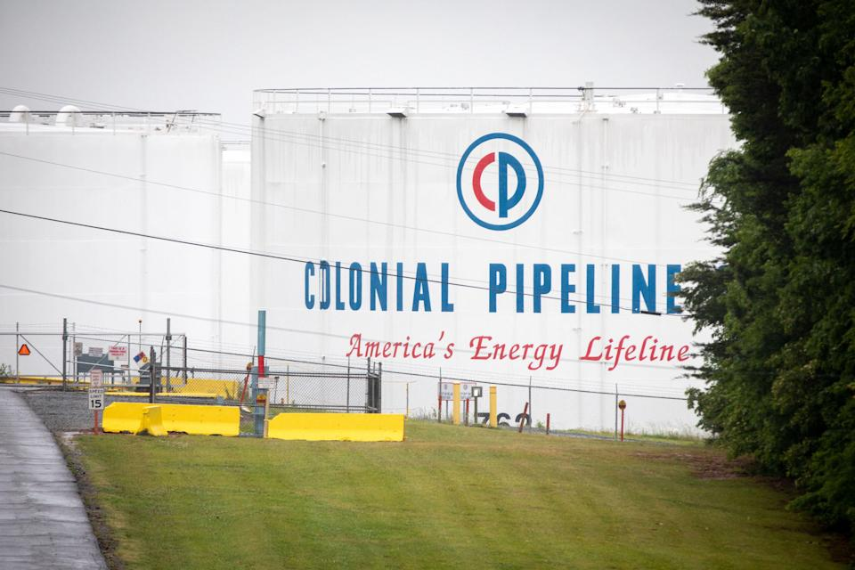 A Colonial Pipeline storage site in Charlotte, North Carolina on May 12, 2021. - Fears the shutdown of the Colonial Pipeline because of a cyberattack would cause a gasoline shortage led to some panic buying and prompted US regulators on May 11, 2021 to temporarily suspend clean fuel requirements in three eastern states and the nation's capital. (Photo by Logan Cyrus / AFP) (Photo by LOGAN CYRUS/AFP via Getty Images) (Photo: LOGAN CYRUS via AFP via Getty Images)