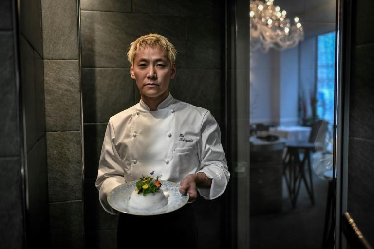 """Three-star chef: The Michelin guide's inspectors were wowed by Kei Kobayashi's """"Garden of crunchy vegetables"""", pictured"""