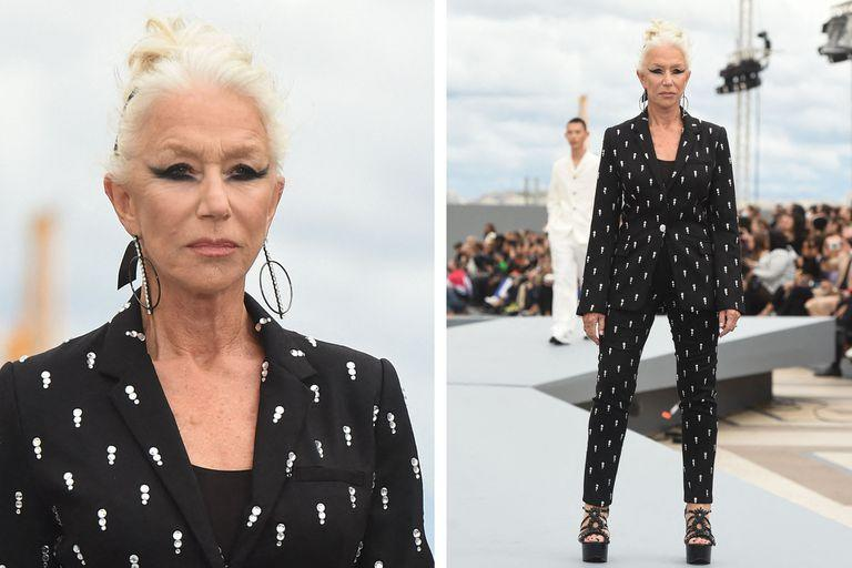 British actress Helen Mirren presents a creation for L'Oreal on the sidelines of the Paris Fashion Week Spring-Summer 2022 Ready-to-Wear collection shows at the Trocadero, in Paris on October 23, 2021. (Photo by Lucas BARIOULET / AFP)