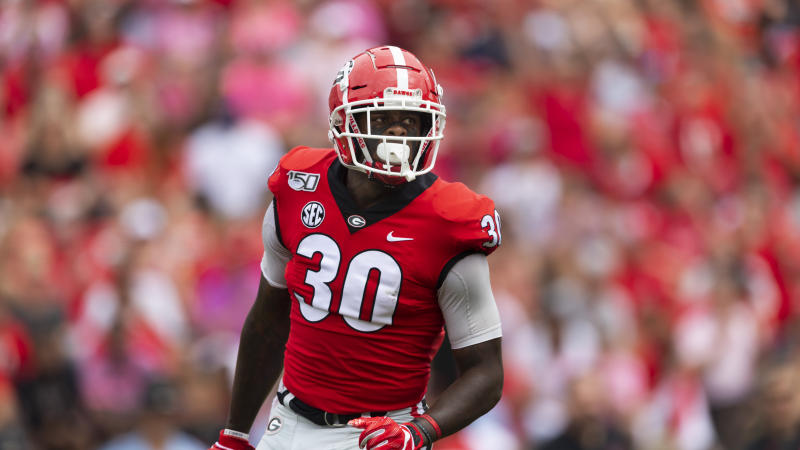 Georgia linebacker Tae Crowder was the final pick of the 2020 draft by the Giants. (AP Photo/John Amis)
