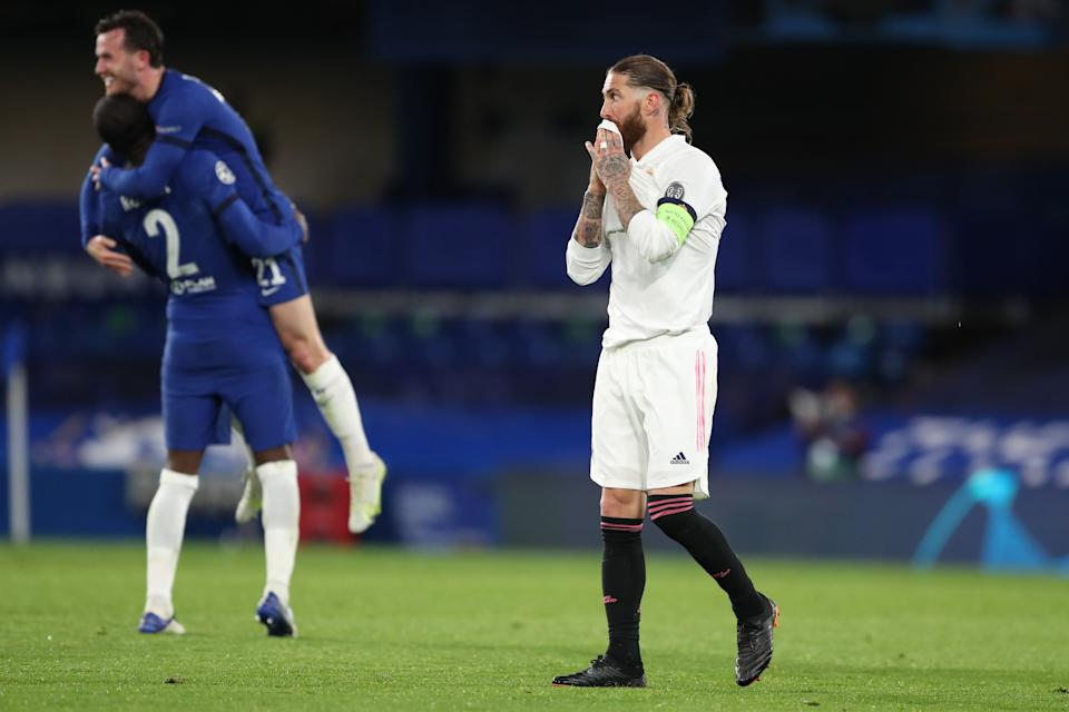 LONDON, ENGLAND - MAY 05: A dejected Sergio Ramos of Real Madrid as his team loses 2-0 during the UEFA Champions League Semi Final Second Leg match between Chelsea and Real Madrid at Stamford Bridge on May 5, 2021 in London, United Kingdom. Sporting stadiums around Europe remain under strict restrictions due to the Coronavirus Pandemic as Government social distancing laws prohibit fans inside venues resulting in games being played behind closed doors. (Photo by James Williamson - AMA/Getty Images)