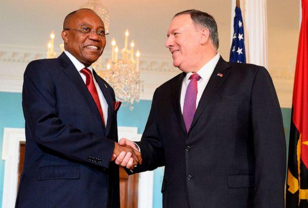 PHOTO: Angolan Foreign Minister Manuel Domingos Augusto shakes hands with Secretary of State Mike Pompeo at the US Department of State in Washington, D.C., Aug. 19, 2019. (Jim Watson/AFP/Getty Images)