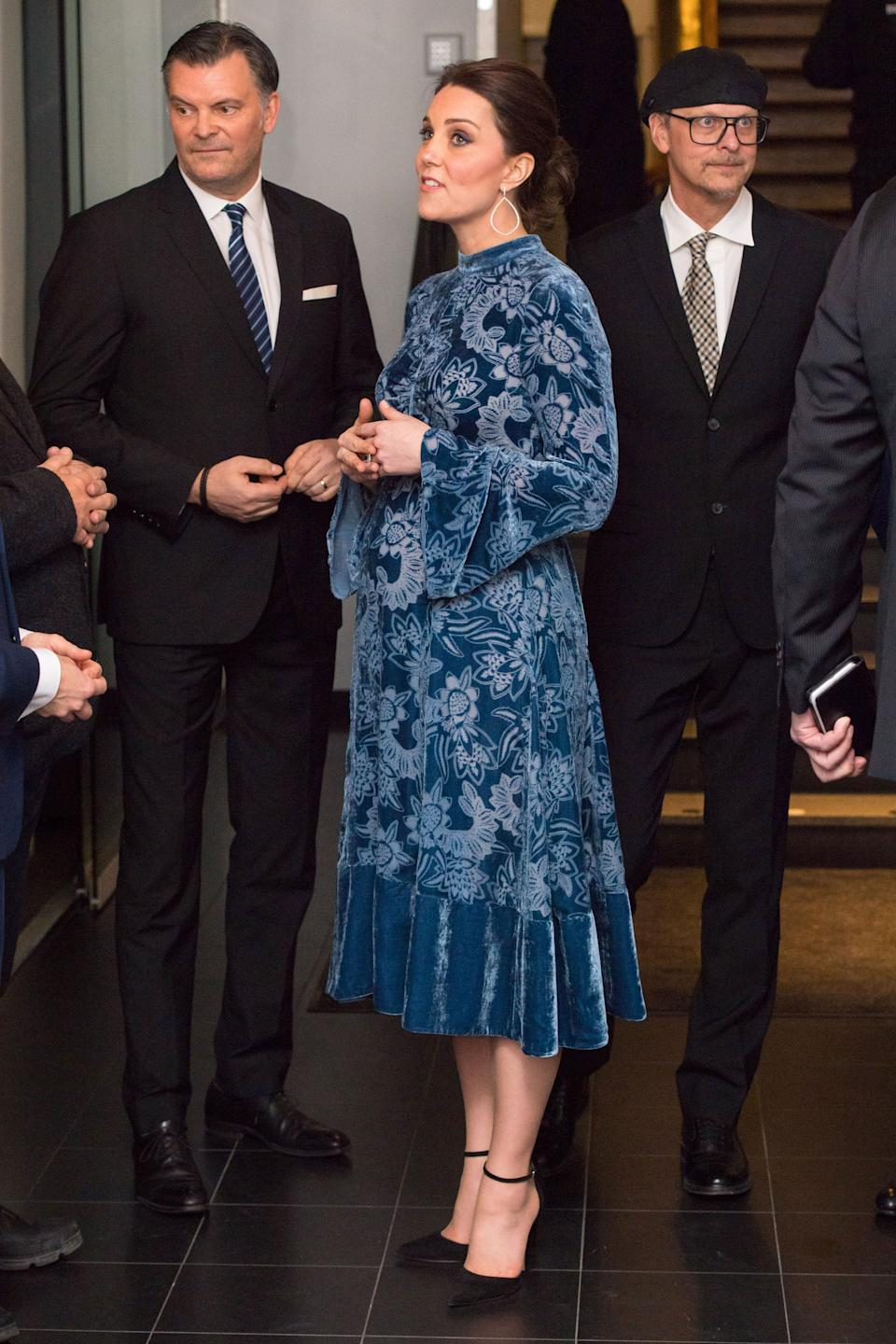 The royals attend a reception to celebrate Swedish culture at the Fotografiska Gallery on Jan. 31.