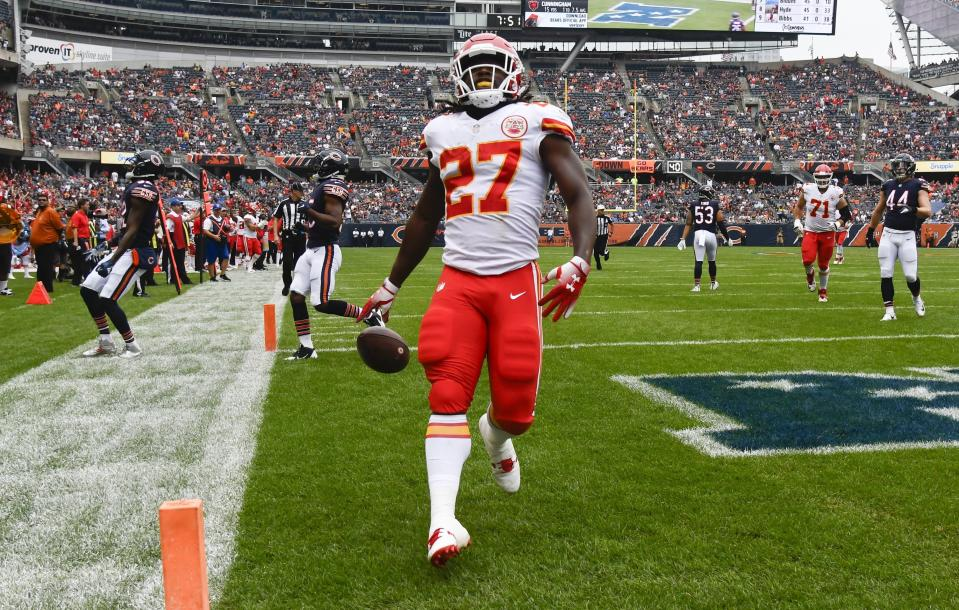 """The NFL reportedly told the Chiefs to """"stop pursuing"""" the video of Kareem Hunt assaulting a woman in a Cleveland hotel earlier this year. (AP)"""