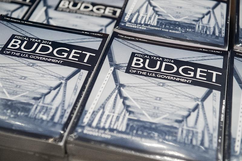 Stacks of printed copies of US President Barack Obama's Fiscal Year 2016 Budget proposal are ready to distribute to staff on Capitol Hill in Washington, DC, February 2, 2015 (AFP Photo/Saul Loeb)
