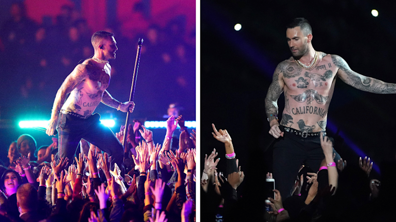 "Adam Levine was likened to an ""awkward stripper"" during his Super Bowl halftime show performance with Maroon 5. Source GettyMore"