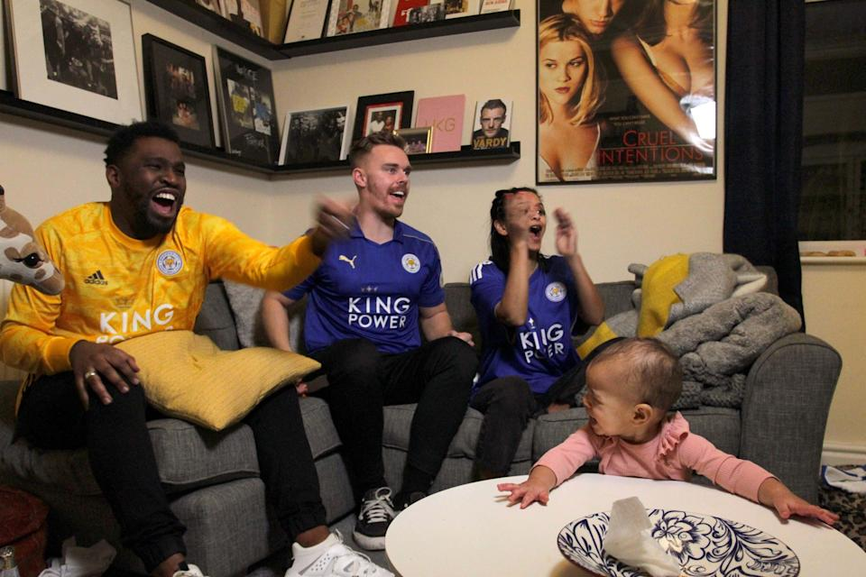 With less than 10 minutes to play, the Drucquer family are sent into raptures as Harvey Barnes rifles home an equaliser against Crystal Palace on December 28, 2020
