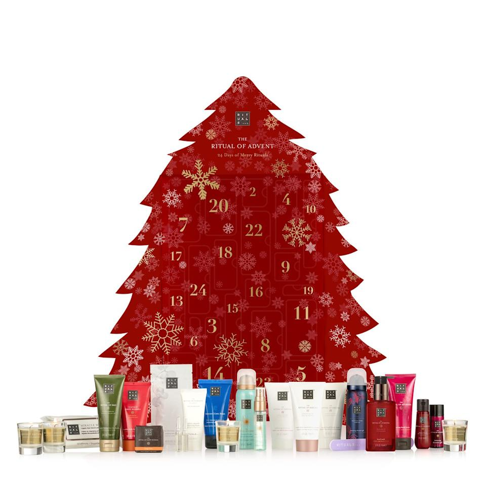 """<p><a rel=""""nofollow"""" href=""""https://www.rituals.com/en-us/the-ritual-of-advent-exclusive-calendar-1103640.html?source=advent"""">BUY NOW</a> $89</p><p>Enough travel-sized toiletries to last you the entire duration of 2019. </p>"""