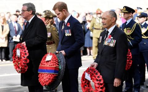 Prince Harry attends the Anzac Day commemorations at the Cenotaph in Westminster, London - Credit: Toby Melville/Reuters