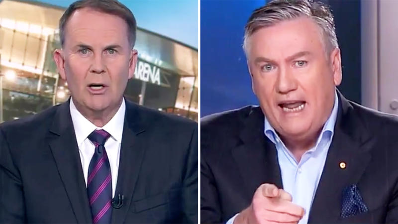 Tony Jones and Eddie McGuire, pictured here clashing in a heated on-air debate.