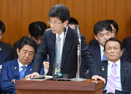 Nobuhisa Sagawa, Director-General of the Ministry of Finance Financial Bureau, answers a question at the parliament in Tokyo