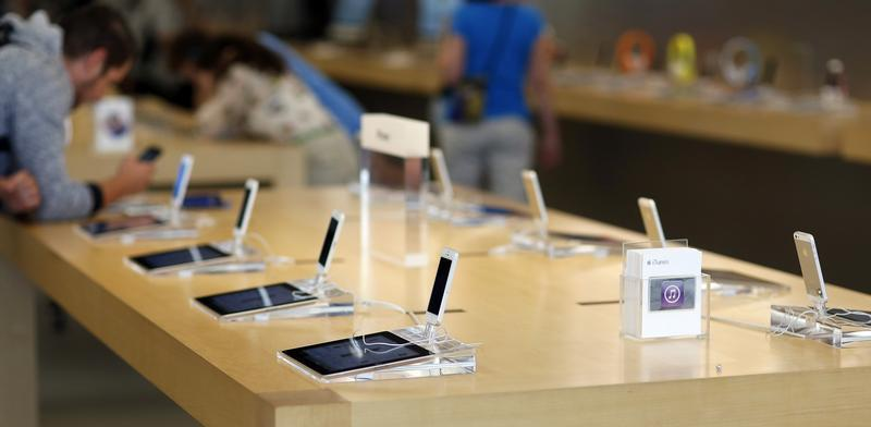 iPhone 5 models are pictured on display at an Apple Store in Pasadena, California