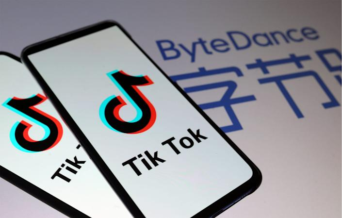 A logo for the popular video app TikTok, which is owned and operated by the Chinese company ByteDance.