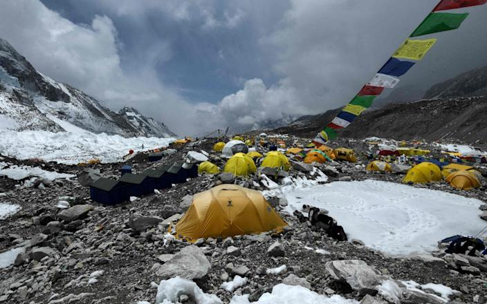 Expedition tents are seen at Everest Base Camp on May 1 2021 in the Solukhumbu district. - Getty