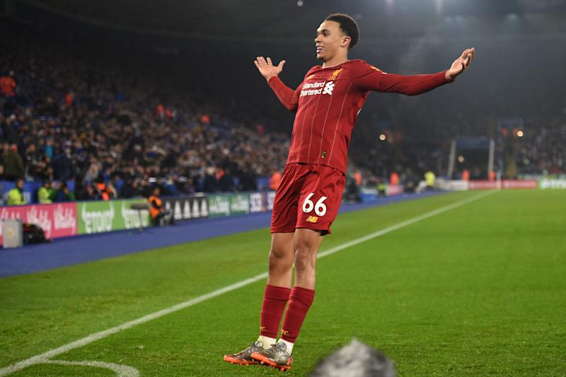 Liverpool's English defender Trent Alexander-Arnold celebrates after scoring their fourth goal during the English Premier League football match between Leicester City and Liverpool at King Power Stadium in Leicester, central England on December 26, 2019. (Photo by Oli SCARFF / AFP) / RESTRICTED TO EDITORIAL USE. No use with unauthorized audio, video, data, fixture lists, club/league logos or 'live' services. Online in-match use limited to 120 images. An additional 40 images may be used in extra time. No video emulation. Social media in-match use limited to 120 images. An additional 40 images may be used in extra time. No use in betting publications, games or single club/league/player publications. / (Photo by OLI SCARFF/AFP via Getty Images)