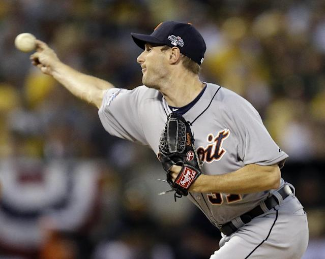 Detroit Tigers pitcher Max Scherzer delivers a pitch in the first inning of Game 1 of the American League baseball division series against the Oakland Athletics in Oakland, Calif., Friday, Oct. 4, 2013. (AP Photo/Ben Margot)