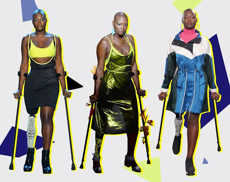 Mama Cax walks the runway: at Chromat Spring 2019, at Chromat Fall 2019, and Teen Vogue's Body Party Spring 2019.