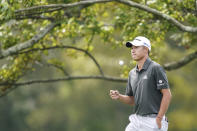 Collin Morikawa walks up to the second tee during practice before the U.S. Open Championship golf tournament at Winged Foot Golf Club, Monday, Sept. 14, 2020, in Mamaroneck, N.Y. (AP Photo/John Minchillo)