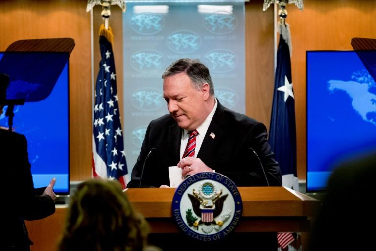 US Secretary of State Mike Pompeo steps away from the podium following a news conference at the State Department