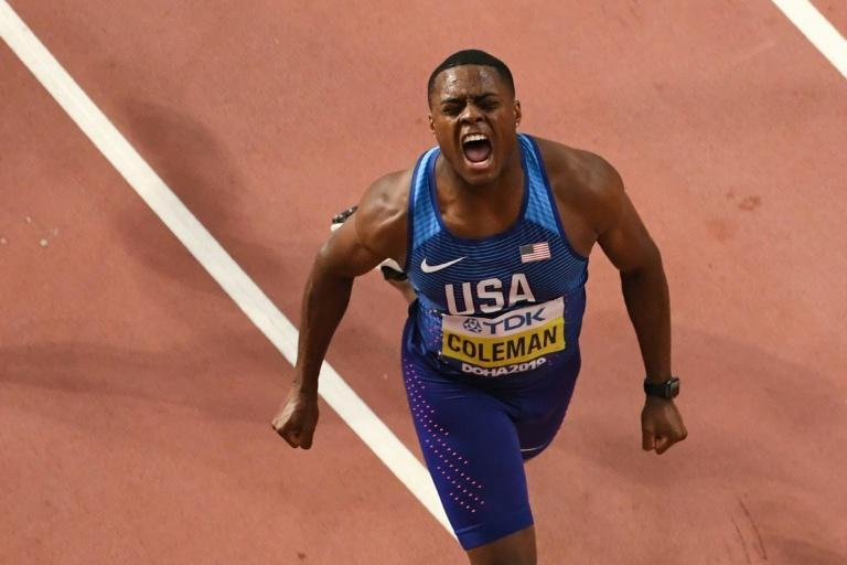World 100m champion Christian Coleman is facing suspension after missing yet another drugs test (AFP Photo/Antonin THUILLIER)