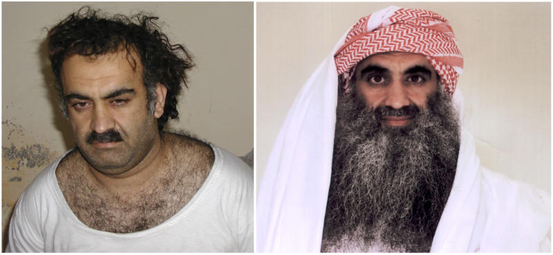 At left a March 1, 2003 photo obtained by the Associated Press shows Khalid Sheikh Mohammed, the alleged Sept. 11 mastermind,  shortly after his capture during a raid in Pakistan. At right, a photo downloaded from the Arabic language Internet site www.muslm.net and purporting to show a man identified by the Internet site as Khalid Sheik Mohammed, the accused mastermind of the Sep. 11 attacks,  is seen in detention at Guantanamo Bay, Cuba. The picture was allegedly taken in July 2009 by the International Committee of the Red Cross (ICRC) and released only to the detainee's family under a new policy allowing the ICRC  to photograph Guantanamo inmates, ICRC spokesman Bernard Barrett said Wednesday, Sept. 9, 2009. A federal law enforcement official says professed 9/11 mastermind Khalid Sheikh Mohammed and four alleged co-conspirators are being referred to the system of military commissions for trial. (AP Photo/www.muslm.net)
