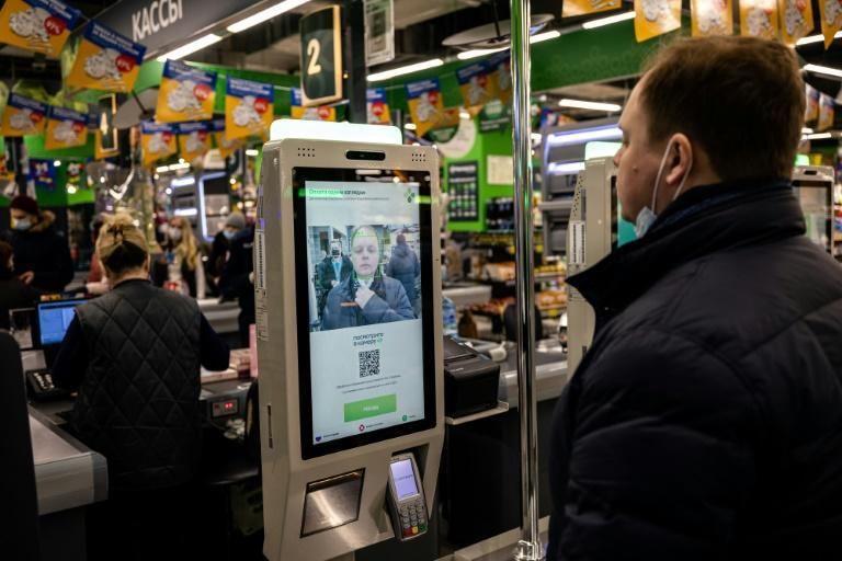 A facial recognition payment system at a self-checkout machine in a Perekrestok supermarket in Moscow