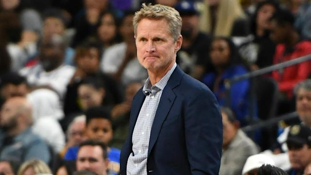 "Steve Kerr playfully said watching the New England Patriots win the Super Bowl was getting ""old""."