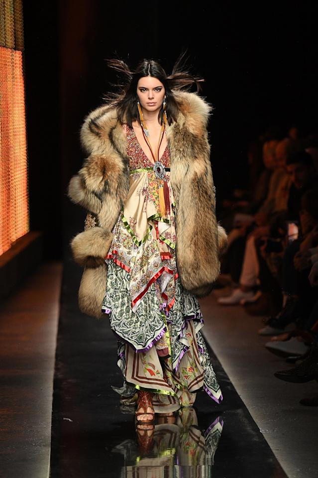 <p>Dsquared2 is known for its fantastical fashion vision, and this look sported by Jenner at the Fall 2019 show proves it.</p>