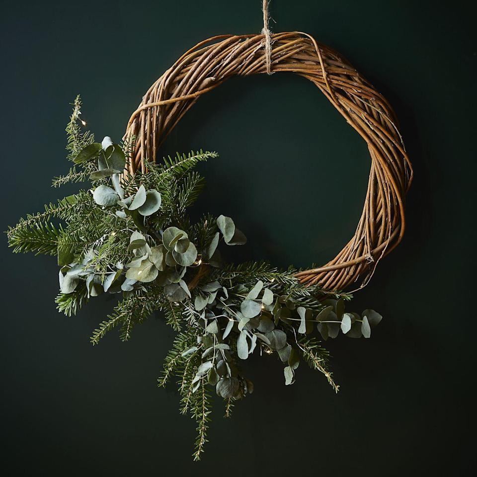 <p>Nothing beats kerb appeal at Christmas time. Deck out your front door in style with your very own door wreath. This DIY kit contains a willow wreath, festive foliage and lights, along with instructions.</p>