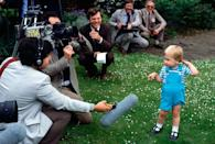 <p>Prince William demonstrated his impressive skills at handling the press at just 2 years old. The Prince ate up the attention of reporters, who were there to document his second birthday. </p>