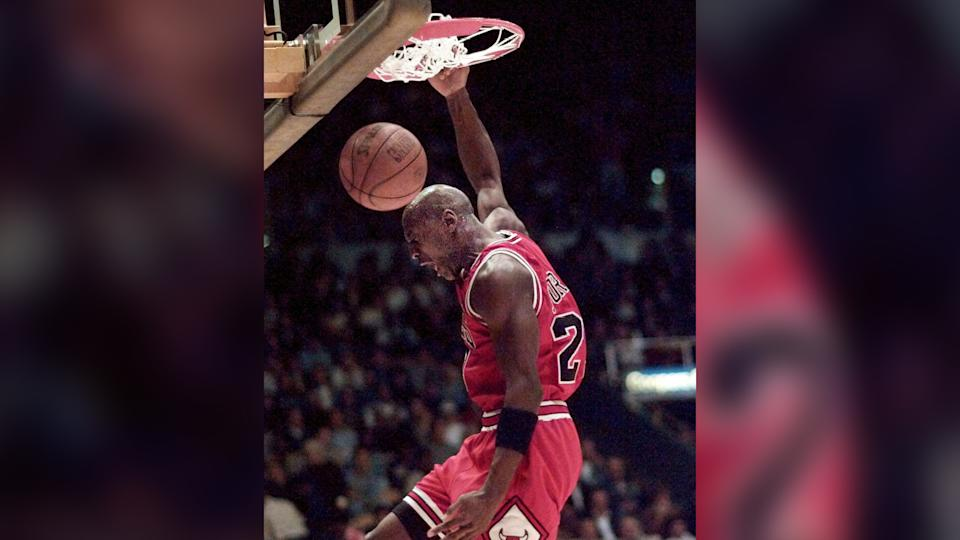 Mandatory Credit: Photo by Eric Draper/AP/Shutterstock (6510082b)JORDAN Chicago Bulls' Michael Jordan dunks for two points against the Los Angeles Lakers in the first quarter, in Inglewood, CalifBULLS LAKERS, INGLEWOOD, USA.