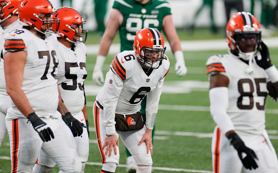 Baker Mayfield and the Browns can clinch a wild-card berth with a win Sunday against the Steelers. Pittsburgh, champions of the AFC North, is still playing for a No. 2 seed in the playoffs. (Photo by Sarah Stier/Getty Images)