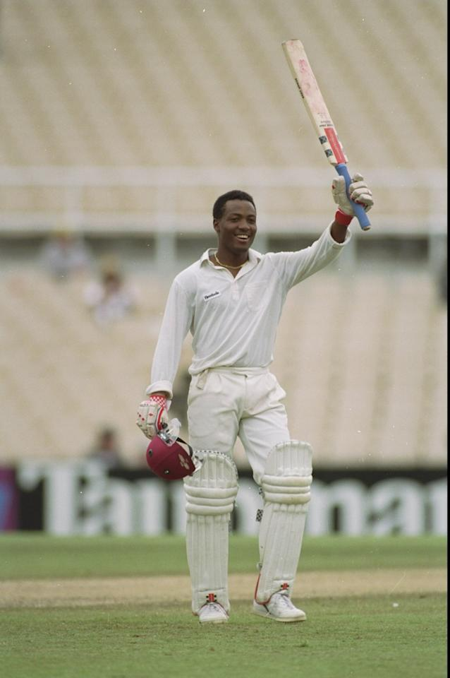 6 Jan 1993:  Brian Lara of the West Indies salutes his double century during the Third Test match against Australia at Sydney Cricket Ground in Australia. The match ended in a draw. \ Mandatory Credit: Allsport UK /Allsport