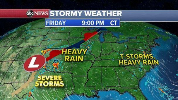 PHOTO: Meanwhile, in the east, a stormy and wet pattern to continue with a frontal system to move through the central U.S. with severe storms to the south and heavy rain to the north. (ABC News)