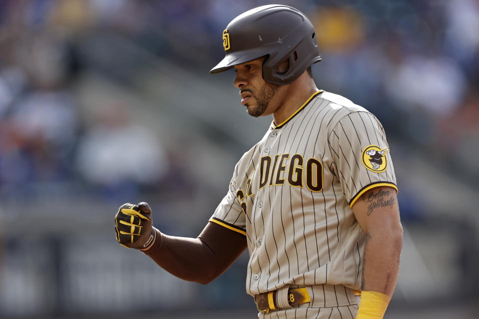 NEW YORK, NY - JUNE 12: Tommy Pham #28 of the San Diego Padres reacts during the sixth inning against the New York Mets at Citi Field on June 12, 2021 in the Flushing neighborhood of the Queens borough of New York City. (Photo by Adam Hunger/Getty Images)
