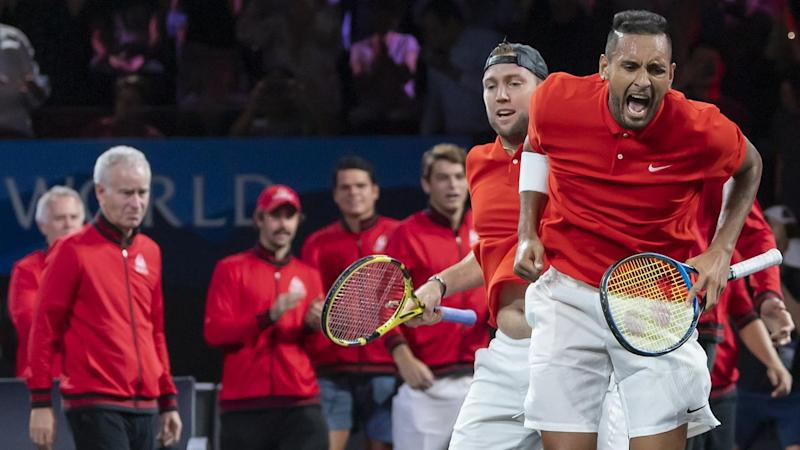 Team World's Nick Kyrgios (r) and Jack Sock have won their doubles match at the Laver Cup
